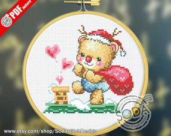 "SO-OP61 ""Santa Bear"" , sodastitch cross stitch pattern,PDF pattern chart"