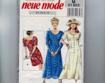 1990s Vintage Sewing Pattern Neue Mode 21 853 Fitted Dress Size 8 10 12 14 16 18 Bust 31 32 34 36 38 40