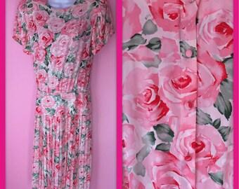 Vintage Pink and Peach Floral Silk Polka Dot Dress