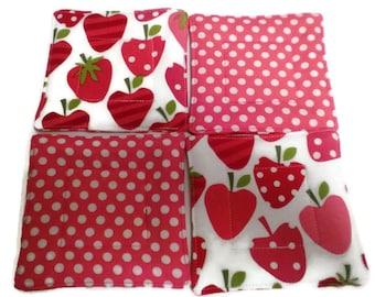Strawberry Coaster Set, Quilted Coaster Set, Pink and Red Coaster Set, Strawberry Drink Coasters, Drink Coasters, Beverage Coasters