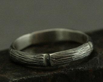 Die schöne Bambus-Band - Frauen Hochzeit Ring--handgemachter Bambusring - Sterling Silber - oxidiert Silberband--einzigartige asiatisches Design