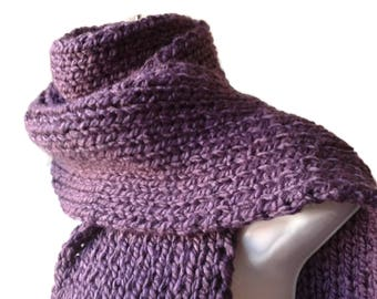 Purple Chunky Knit Scarf Vegan Rib Knit FELIX Men Woman - Ready to Ship Autumn Winter Gift for Him or Her