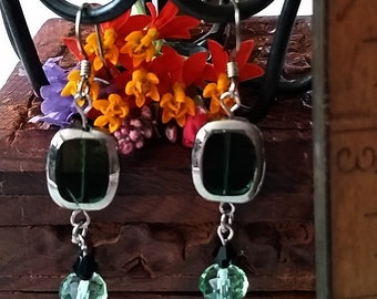 Christmas Green and Silver Bell Colored Earrings