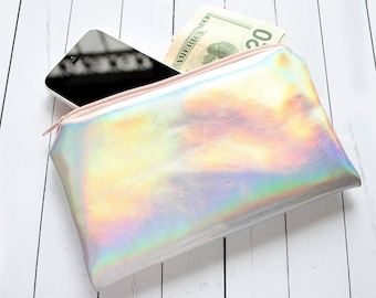 Rainbow Pouch / Holographic bag, iridescent bag, small pouch, faux leather, pastel pouch, customizable color zipper