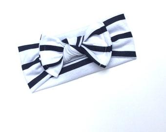 Banda Bow knot Rayas azul y blanco