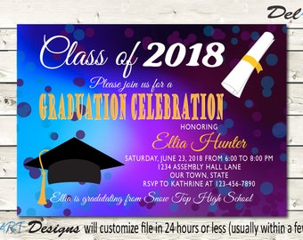 Grad Party Invite Graduation Invitations School Celebration Blur Bokeh Background Printable Digital