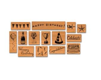 Cavallini Celebrations Rubber Stamp Set