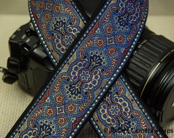 "Custom Camera Strap 2"" Wide Paisley Slate Blue DSLR SLR P&S 5283 Last One!"