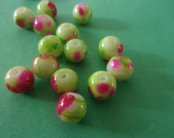 Round, pink and green glass bead - 8mm