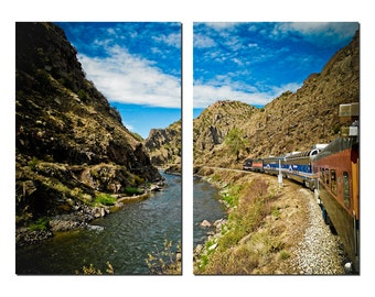 Royal Gorge Railroad Train Canvas Diptych, 2 Panel Art, LARGE, Ready to Hang