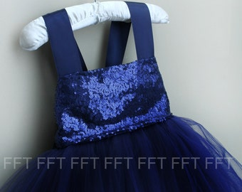 Navy Blue Sequin Flower Girl Tutu Dress