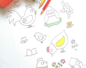 Chiken to print and color