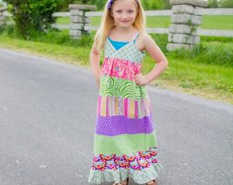 Girls maxi dress - girls dresses - girls boho dress - maxi dress - pink maxi dress - summer dress - purple maxi - boho flower girl dress
