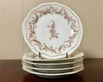 Pink Floral China Dessert Plates - Set of 5 / Scalloped Gold Trim Bread Plates