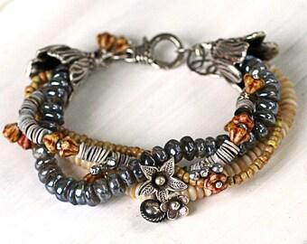 Chunky Boho Bracelet for Women, Labradorite Bracelet, Multistrand Flower Bracelet, Bohemian Bracelet Gift for Her, UrbanTribal Bracelet
