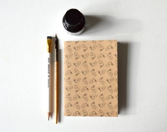 Notebook - A6, RECYCLED, ECO-FRIENDLY, 'folk heart'