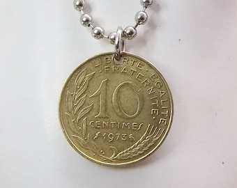 French Coin Necklace, 10 Centimes Bronze Coin, Ball Chain, Men's Necklace, Women's Necklace, 1973