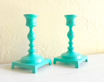 Pair of Teal Painted Metal Candlesticks Candle Holders Classic Design 2 Two