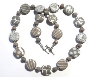 CLEARANCE Kazuri Bead Necklace,  Chunky Necklace, African Design Beads, Ceramic Necklace
