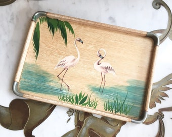 Vintage 50s Mid Century Nasco Wood Flamingo Serving Nesting Tray Made in Japan