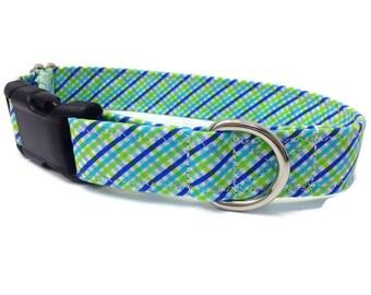 Blue and Green Tartan Plaid Dog Collar, Boy dog collar, Preppy Dog Collar, Green Plaid Collar, Tartan Dog Collar, Spring dog collar