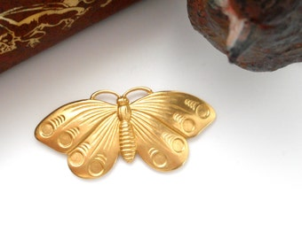 BRASS (2 Pieces) Cabochon Wing Butterfly Stamping ~ Jewelry Ornament Findings ~ Brass Stamping (FA-6035)