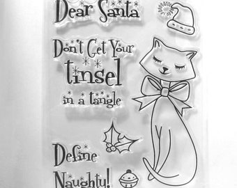 Cat And Santa Funny Sayings Clear Stamp Set