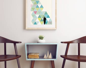 Geometric Art, Abstract landscape, Surreal Collage, Green and Teal - Obstacle