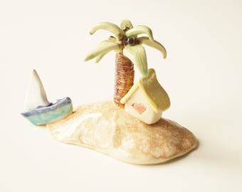 Beach House, Housewarming Cake Topper, Miniature House, Ceramic House, Little Home Sculpture, Ceramic Cake Topper by Her Moments