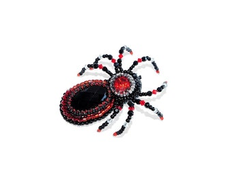 Free shipping USA & Canada. Bead Embroidered Spider Brooch with Black Agate, Rhinestone. Black Red Tarantula Brooch Pin. Insect Bug Jewelry