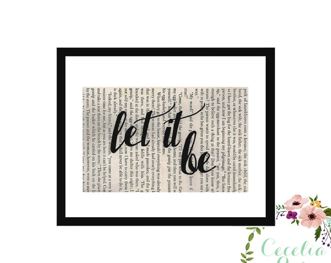 Let It Be John Lennon Beatles Peace Inspirational Upcycled Vintage Book Page Box Frame or Print Farmhouse Style