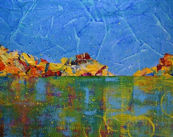 Abstract Landscape Painting ... Colorful Art ... Textured Collage Painting ... Mountainside ... Acrylic on Canvas ... 18x24 inch ... Modern