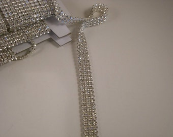 REMNANT--Rhinestone Banding Czech Three Row--25 INCHES