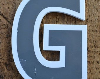 Salvaged Industrial Marquee Plastic Signage Gray White Letter - G