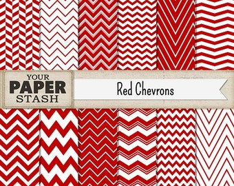 Red Chevron Digital Scrapbook Paper Bckgrounds, Zig Zag Line Paper, Christmas Valentine's Day Digital Paper Pack, Commercial Use, Download