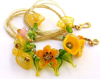 Lampwork Floral Necklace, Yellow and Green Romantic Style Necklace, Festive Glass Necklace, Unique Gift, Made to Order