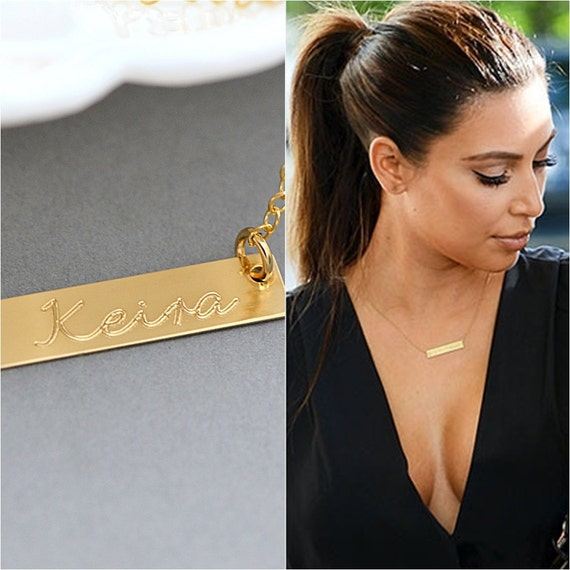 Gold Bar Necklace Nameplate Necklace Kardashian Necklace