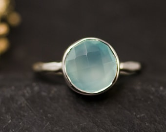Aqua Blue Chalcedony Ring Sterling Silver, Gemstone Ring, Solitaire Ring, Sea Foam Ring, Stacking Ring, Round Gold Ring, Summer Ring