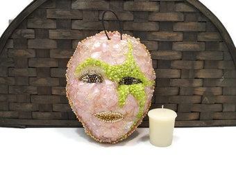 Cosmic Girl Mosaic Wall Hanging, Galactic Star Face Mosaic, Sparkle Face Mask, Alien Face Mosaic, Mythical Magic Mask, Mosaic Face, Patio