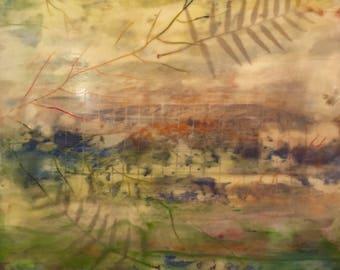 "Encaustic Wax Based Medium Art 18""x18"" Green Yellow Cream Wax Painting on 1.5"" ""floating"" wood panel"