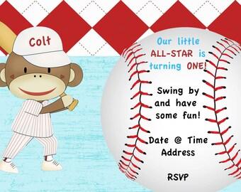 Custom Sports Baseball Birthday Sock Monkey Invitation