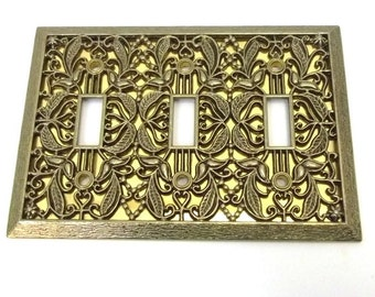Switchplate Cover Paint or Upcycle Decorative Cover 3 Switch Switchplate Cover Ornate Switchplate Wall Light Switch Cover Wall Plate DD 908