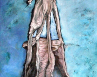 """Original OIL PAINTING Ballet Slippers on Jute. 18"""" by 36"""" by 1"""" sides painted black, gallery wrapped. FREE careful Shipping!"""