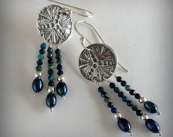 Silver Art Deco Dangle Earrings with Chrysocolla