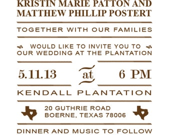 Printable wedding invitations and more created to your specifications.