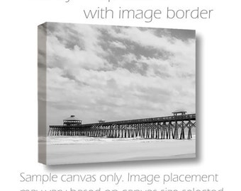 Folly Beach Pier-Large Gallery Wrap Canvas-B&W-Coastal Landscape-Sky Photography-Fine Art Photography-Canvas Wrap-South Carolina Wall Decor