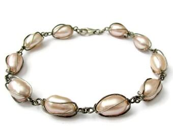 Pink pearl bracelet, caged pearl bracelet, vintage pearl bracelet, sterling silver and pearl bracelet