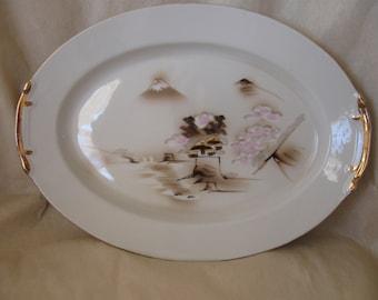 Beautiful Hayasi China Kutani Platter, 14 Inches With Oriental Scene