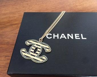 Vintage 90's CHANEL CC Large Logo Stripes Gold / Black Enamel / Rhinestone Statement Necklace Pendant Fashion Jewelry