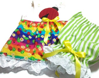 Baby Girl Summer Clothes,  Baby Ladybug outfit, Girls Sunsuit, Sun Top and Pantaloons Set, Size 12 month Girl Clothes, Baby Summer Wear